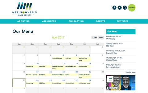 Screenshot of Menu Page wakemow.org - Our Menu   Meals On Wheels Wake County - captured April 24, 2017
