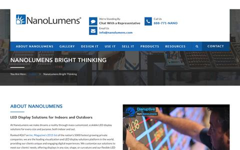 Screenshot of About Page nanolumens.com - About NanoLumens LED Display Solutions - captured July 23, 2016