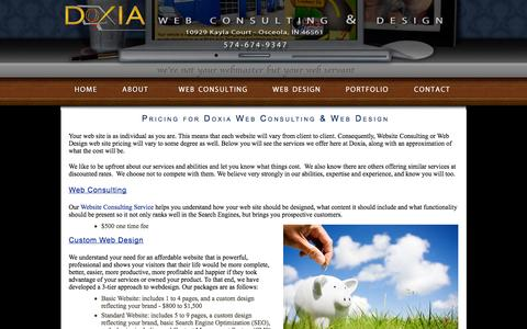 Screenshot of Pricing Page doxiadesign.com - Pricing for Web Consulting & Web Design Services by Doxia - captured Oct. 6, 2014