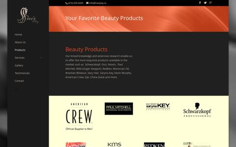 Screenshot of Products Page hairplay.ca - Products - Hair Play Salon - captured Feb. 2, 2016