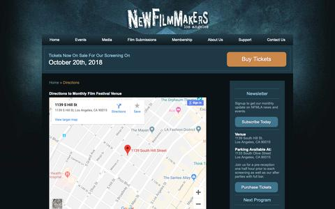 Screenshot of Maps & Directions Page newfilmmakersla.com - Directions - LA Film Festival NewFilmmakers Los Angeles - captured Oct. 19, 2018
