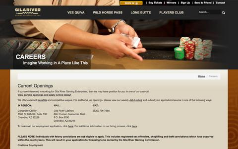 Screenshot of Jobs Page wingilariver.com - Careers, Jobs at Gila River Casinos - captured Oct. 26, 2014