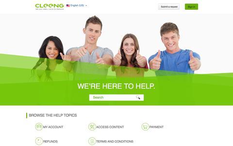 Screenshot of cleeng.com - Browse the help topics – Cleeng Consumer - captured April 14, 2016