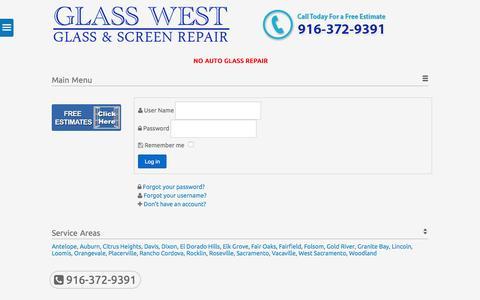 Screenshot of Login Page glasswest.com - Login - captured Sept. 27, 2015