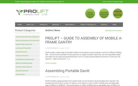 Screenshot of Press Page prolift.ie - News | Prolift Lifting Equipment Ireland - captured Aug. 29, 2017
