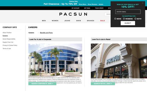 Screenshot of Jobs Page pacsun.com - PacSun Careers - Apply Online Today - captured Sept. 21, 2018
