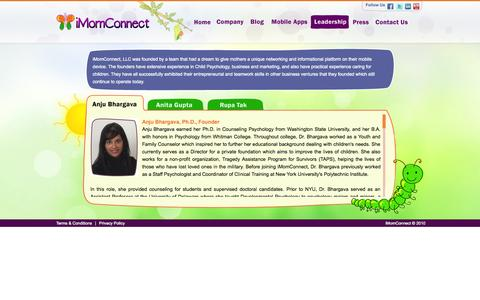 Screenshot of Team Page imomconnect.com - iMomConnect - captured Oct. 6, 2014