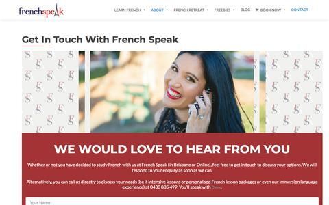 Screenshot of Contact Page frenchspeak.com.au - Contact Our French School in Brisbane - captured Aug. 28, 2018