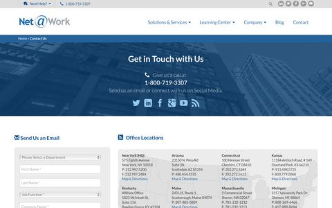 Screenshot of Contact Page Locations Page netatwork.com - Net@Work : Contact Us - captured Sept. 14, 2018