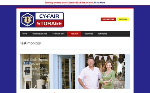 Screenshot of Testimonials Page cy-fairstorage.com - Testimonials | Storage | Storage Units Cypress - captured Oct. 28, 2014