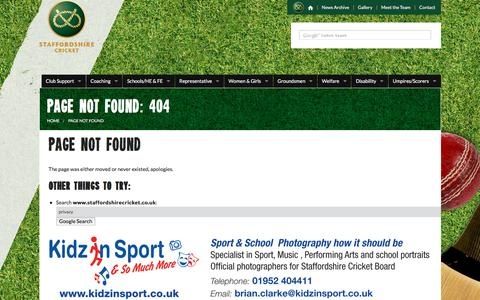 Screenshot of Privacy Page staffordshirecricket.co.uk - Page Not Found: 404 - captured Feb. 16, 2016