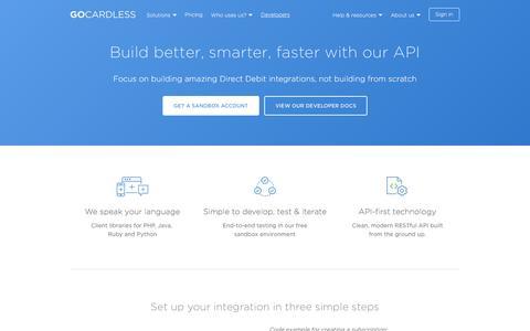 Screenshot of Developers Page gocardless.com - GoCardless for Developers - GoCardless - captured Dec. 25, 2016