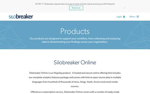 Screenshot of Products Page silobreaker.com - Products - Silobreaker - captured Oct. 9, 2017