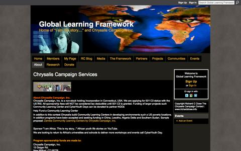 Screenshot of About Page ning.com - Chrysalis Campaign Services - Global Learning Framework - captured Sept. 13, 2014