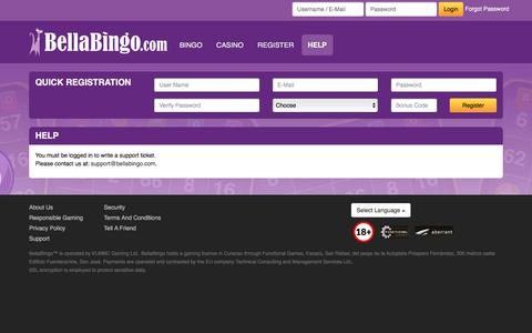 Screenshot of Support Page bellabingo.com - BellaBingo - captured March 29, 2016
