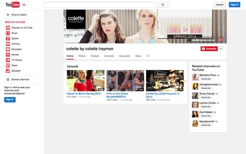 Screenshot of YouTube Page youtube.com - colette by colette hayman  - YouTube - captured Oct. 23, 2014