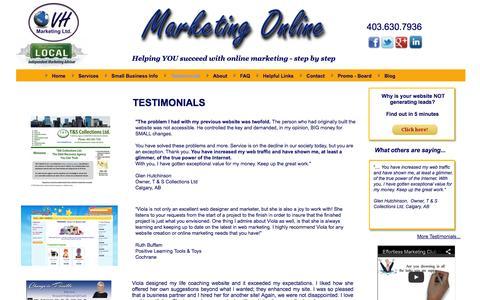 Screenshot of Testimonials Page vhwebsites.com - Customer Testimonials - captured Oct. 26, 2014