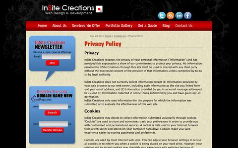 Screenshot of Privacy Page onlinesitedevelopment.com - Privacy Policy :: InSite Creations Web Design and Development - captured Oct. 6, 2014