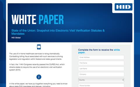 Screenshot of Landing Page hidglobal.com - Snapshot into Electronic Visit Verification Statutes & Mandates - captured April 13, 2018