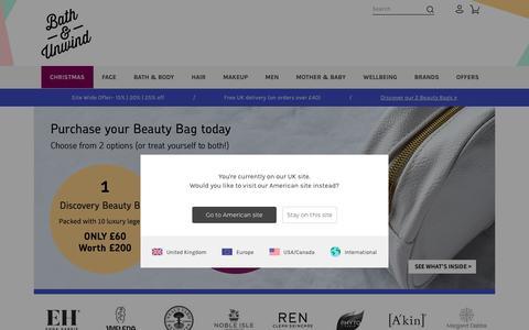 Screenshot of Home Page bathandunwind.com - Bath & Unwind - UK - captured Nov. 13, 2018