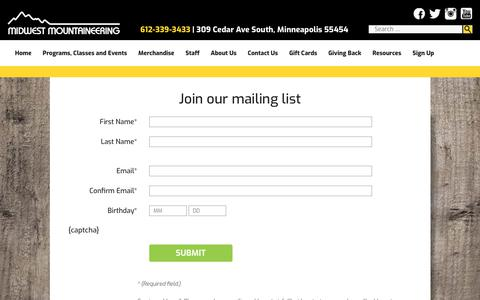 Screenshot of Signup Page midwestmtn.com - Join our mailing list - Midwest Mountaineering - captured Oct. 25, 2017