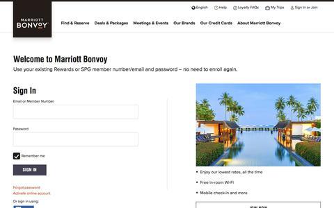 Screenshot of Login Page marriott.com - Sign In - captured Sept. 14, 2019