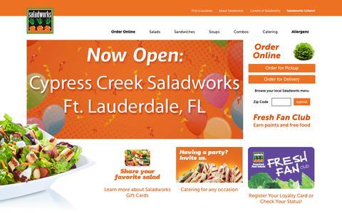 Screenshot of Home Page saladworks.com - Welcome to SaladWorks - captured Sept. 24, 2014