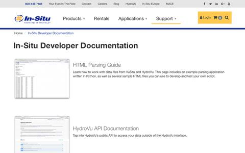 Screenshot of Developers Page in-situ.com - In-Situ Developer Documentation - In-Situ - captured Nov. 6, 2018