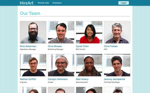 Screenshot of Team Page hireart.com - Our Team - HireArt - captured Oct. 26, 2015