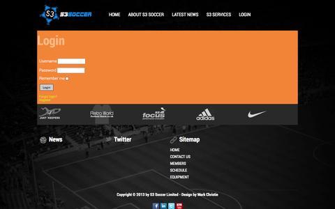 Screenshot of Login Page s3soccer.co.uk - Login - captured Sept. 30, 2014