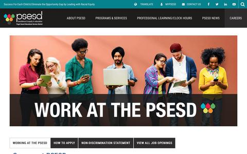 Screenshot of Jobs Page psesd.org - Careers - Puget Sound Educational Service District 121 - captured Sept. 12, 2018