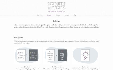 Screenshot of Pricing Page threelittlewordspaper.com - Pricing — Three Little Words - captured Nov. 4, 2014
