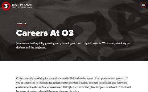 Screenshot of Jobs Page weareo3.com - Accelerate Your Career at O3 - captured Jan. 17, 2016