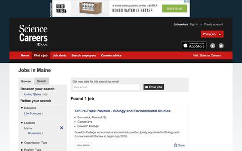 Screenshot of Jobs Page sciencecareers.org - Jobs in Maine - captured Aug. 11, 2017