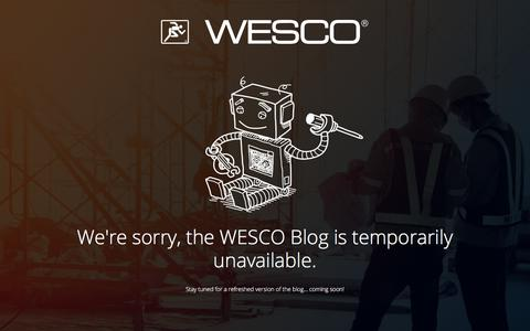 Screenshot of Blog wesco.com - We're Sorry, This Page is Temporarily Unavailable - captured Nov. 16, 2017