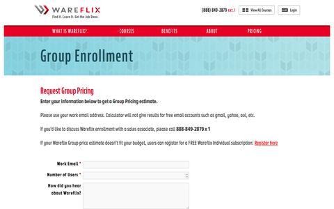 Screenshot of Pricing Page wareflix.com - Group Enrollment - captured Dec. 26, 2016