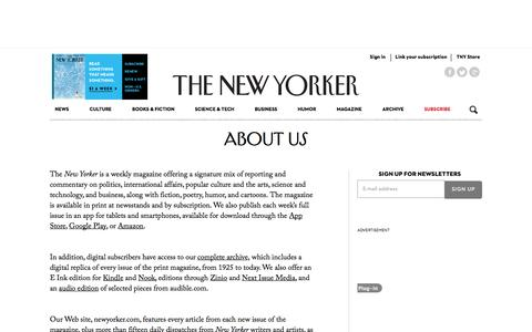 Screenshot of About Page newyorker.com - About Us - The New Yorker - captured Dec. 17, 2014