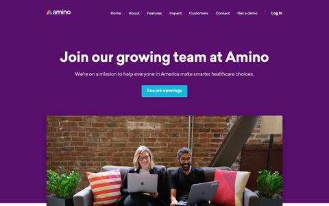 Screenshot of Jobs Page amino.com - Careers   Amino - captured June 11, 2019