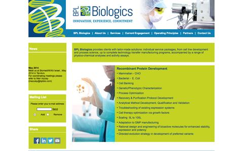 Screenshot of Services Page bplbio.com - www.bplbio.com - Services - captured Oct. 4, 2014