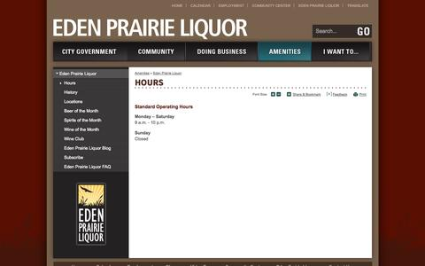 Screenshot of Hours Page edenprairie.org - City of Eden Prairie : Hours - captured Sept. 19, 2014