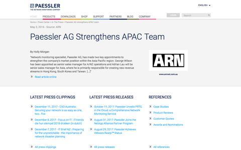 Screenshot of Press Page paessler.com - Paessler AG strengthens APAC team - captured Dec. 29, 2017