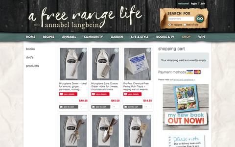 Screenshot of Products Page annabel-langbein.com - Annabel Langbein – Shop - captured Sept. 19, 2014