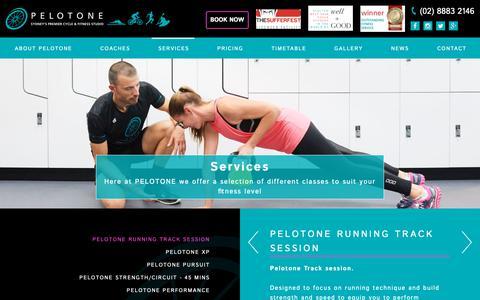 Screenshot of Services Page pelotone.com.au - Classes - Pelotone - captured Sept. 27, 2018