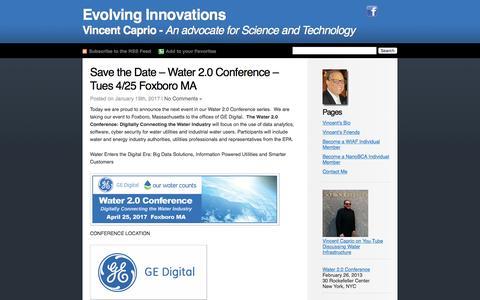 Screenshot of Home Page vincentcaprio.org - Vincent Caprio's Blog Evolving Innovations - captured Jan. 31, 2017
