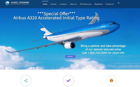 Screenshot of Home Page ftiratings.com - Commercial Flight Training |Type Rating Course |ATP Course - captured Sept. 11, 2015