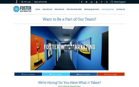 Screenshot of Jobs Page fosterwebmarketing.com - Career Contact Page   Foster Web Marketing - captured July 15, 2017