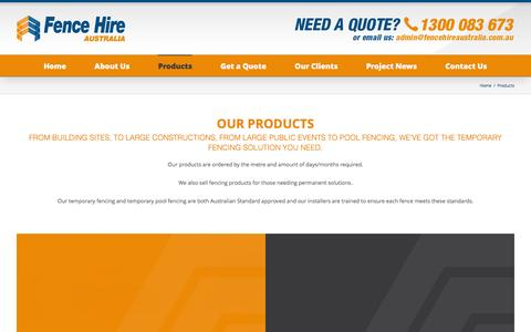 Screenshot of Products Page fencehireaustralia.com.au - Products - Fence Hire Australia - captured Jan. 8, 2016