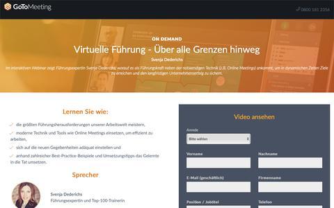 Screenshot of Landing Page gotomeeting.com - Virtuelle Führung - Über alle Grenzen hinweg - captured Sept. 30, 2018