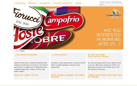 Screenshot of Jobs Page campofriofoodgroup.com captured Oct. 28, 2014
