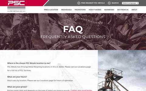Screenshot of FAQ Page pscmetals.com - Scrap Metal Recycling Questions | PSC Metals - captured July 15, 2018